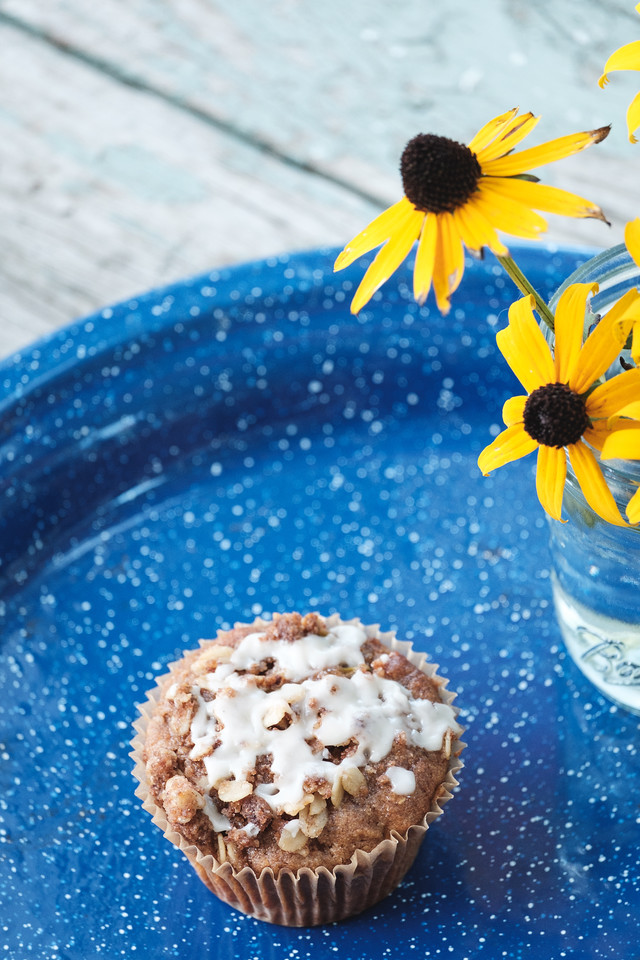 blue tray with a muffin and yellow flowers
