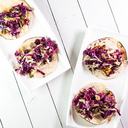 Plate of bratwurst tacos