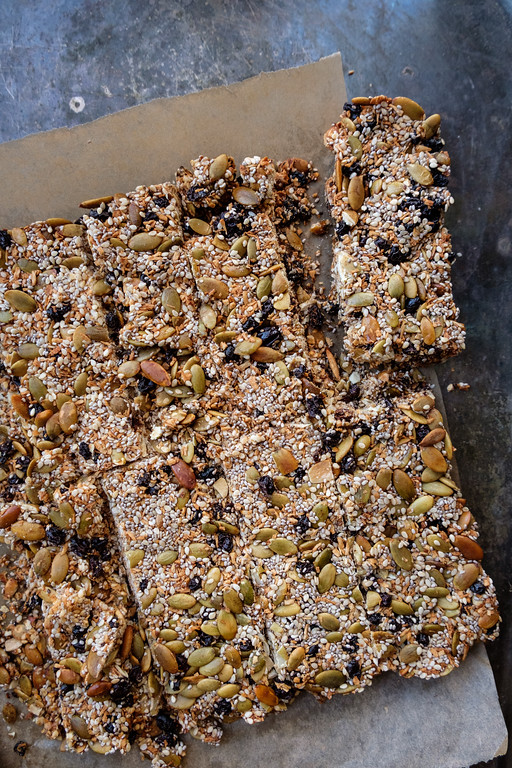 Coconut Chia Bars with pumpkin seeds, sesame seeds, currants and honey