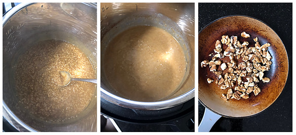 Last 3 steps for making instant pot steel cut oats. Stirring, adding milk, toasting nuts.
