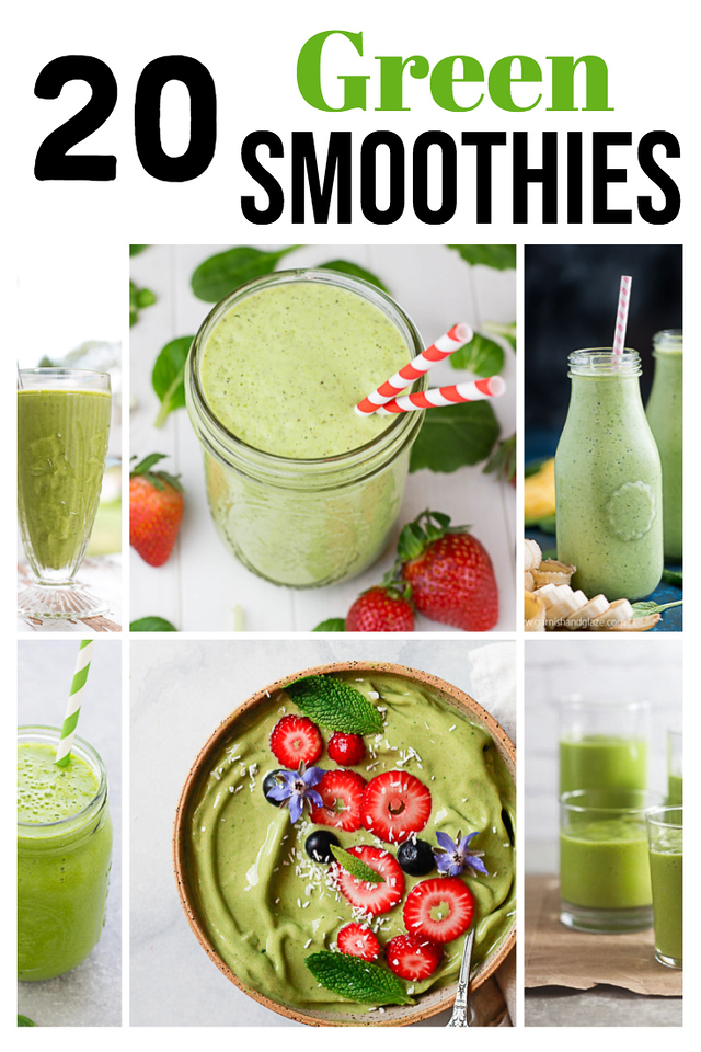 Collage of green smoothies with text reading 20 Green Smoothies
