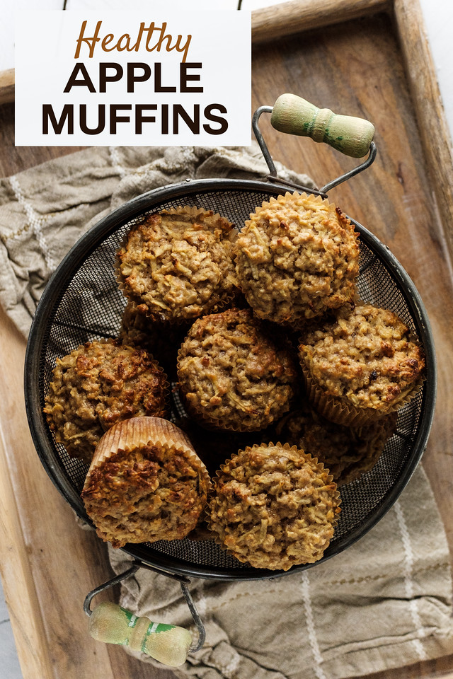 Basket of muffins with text overlay reading Healthy Apple Muffins