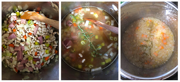 3 photos showing the last 3 steps for making Instant Pot Ham and Bean Soup