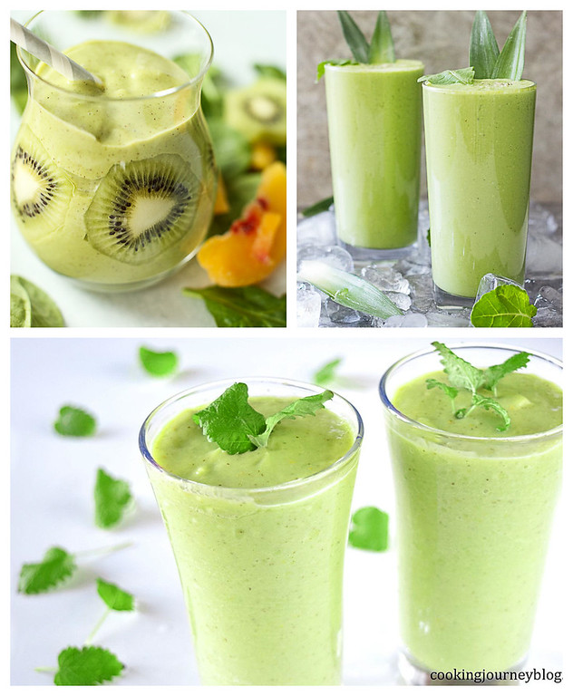 Collage of kiwi smoothies.