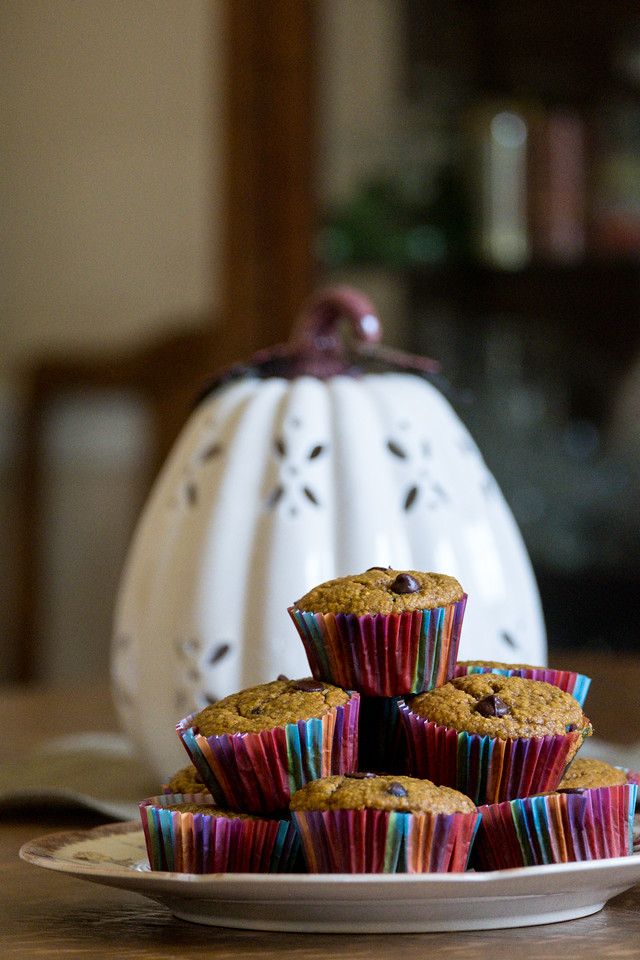 Plate of muffins in front of a white pumpkin.