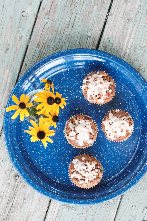 Blue platter with muffins and black eyed susan flowers
