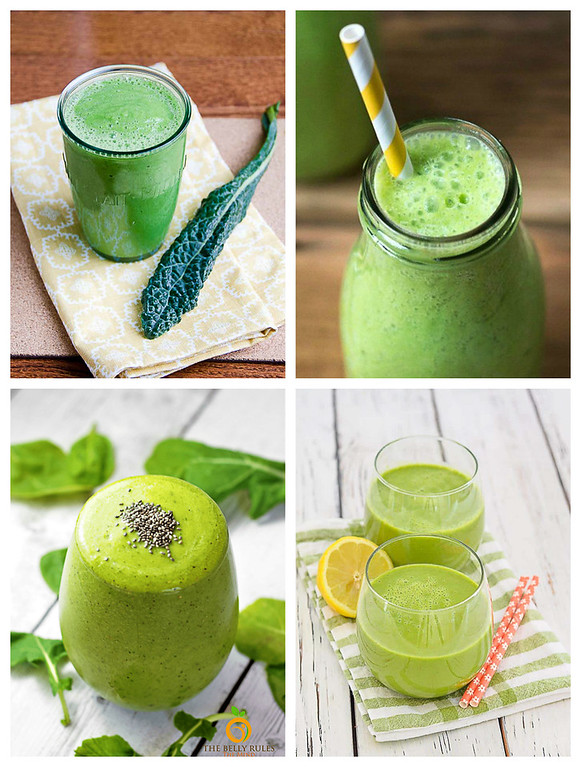 Collage of 4 kale smoothies