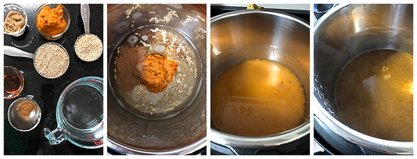 The first four steps for making instant pot pumpkin pie steel cut oats - gathering ingredients, putting in pot, stirring, cooking.