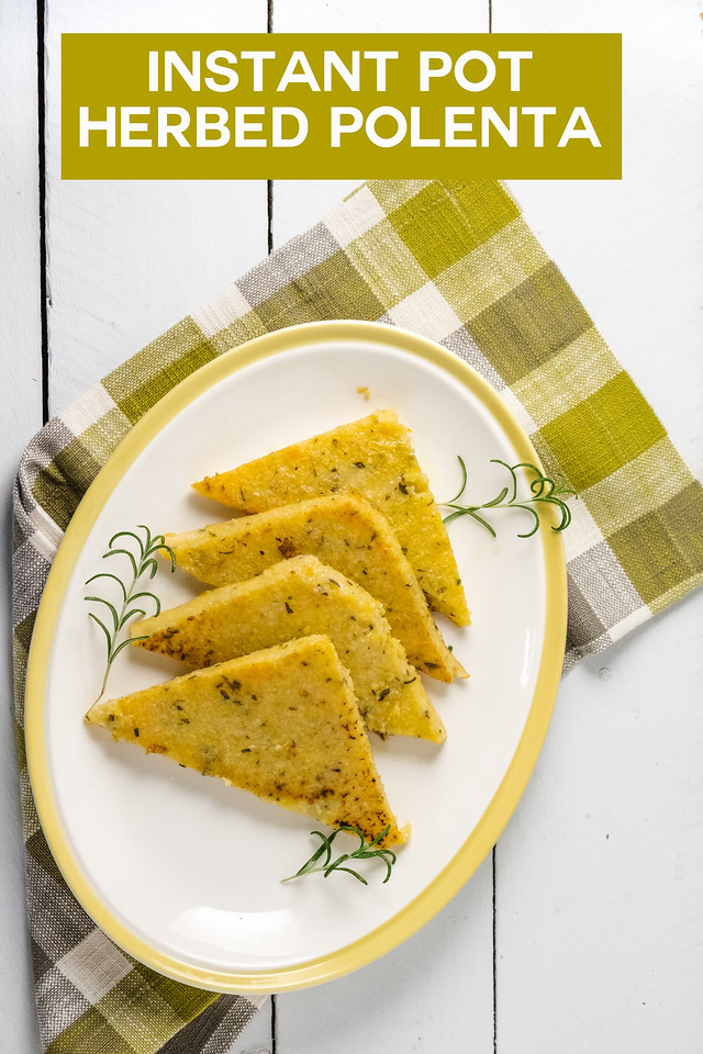 Platter with polenta cakes on a plaid napkin with text overlay reading Instant Pot Herbed Polenta