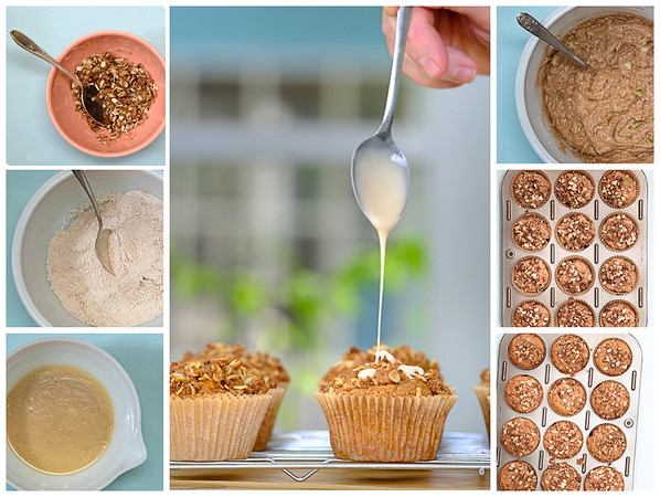 Photo collage of the steps for making these apple muffins.