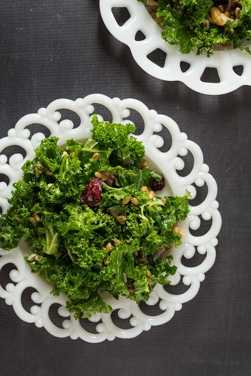 Kale and Spelt Salad - kale, spelt, walnuts, dried cranberries on a pretty salad plate!