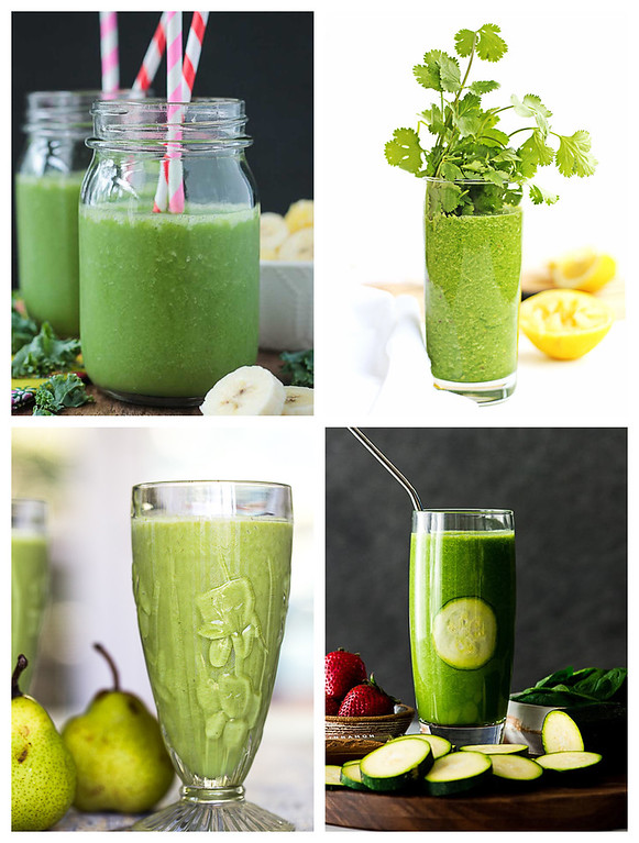 Collage of dairy free smoothies