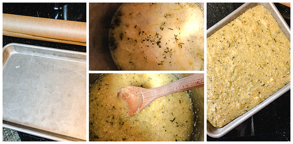 Photo collage of the steps for making polenta cakes