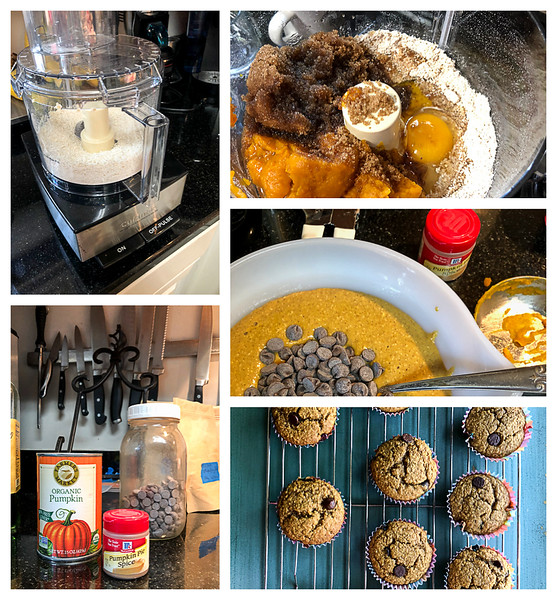 Collage of steps to make pumpkin muffins - oats pulsing in food processor, photo of pumpkin and ingredients, wet ingredients added to dry, chocolate chips being folded in.