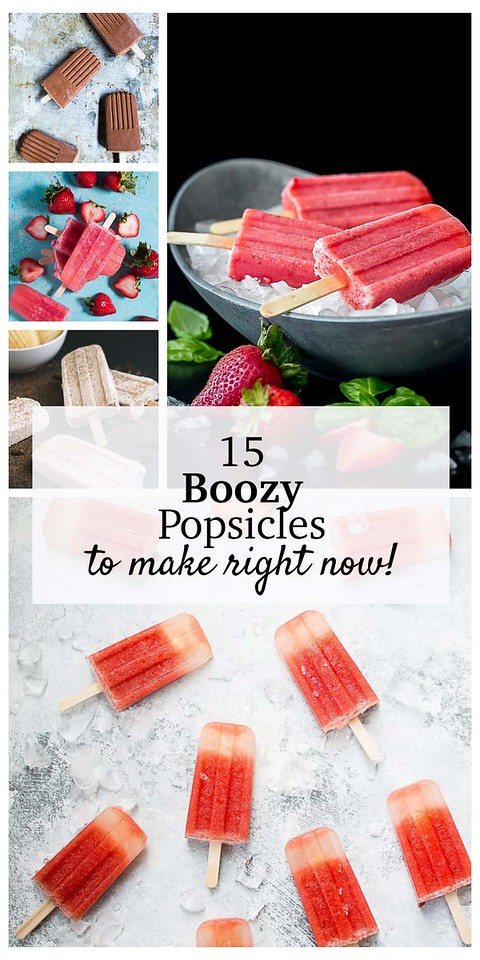 Collage of boozy popsicles