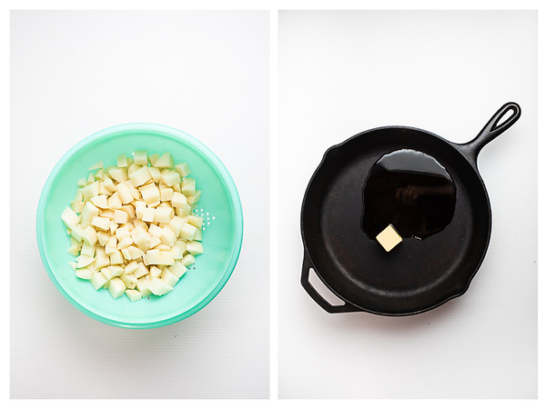 Photo collage showing diced potatoes and butter melting in a cast iron skillet.