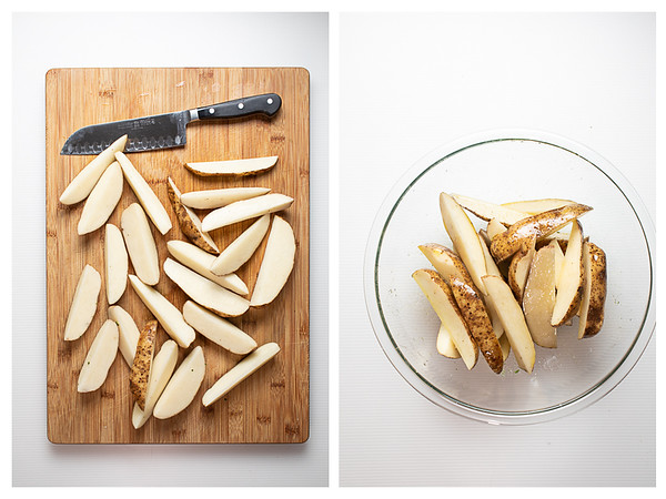 Russet potatoes cut into wedges and then tossed with olive oil.