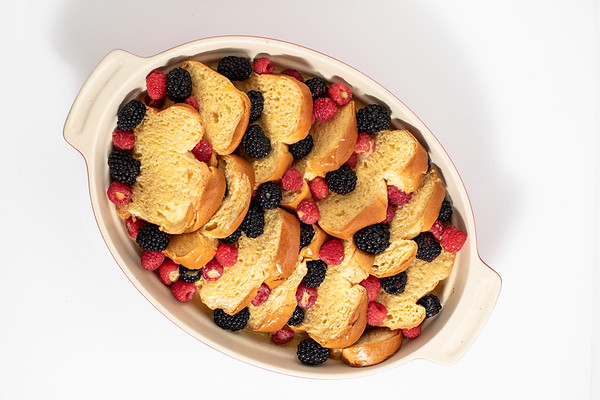 Overnight french toast casserole before baking.