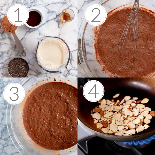 Photo collage of the four steps to making chocolate chia seed pudding.