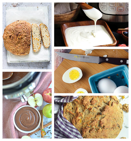Collage of instant pot breakfast ideas.