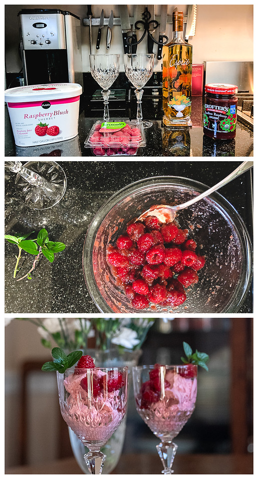 Three photos showing the steps to making a triple raspberry sundae
