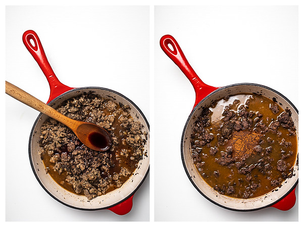 Photo collage showing the red wine and cinnamon being added to the ragu.