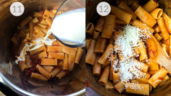 Photo collage showing steps 11 and 12 - adding cream and cheese.