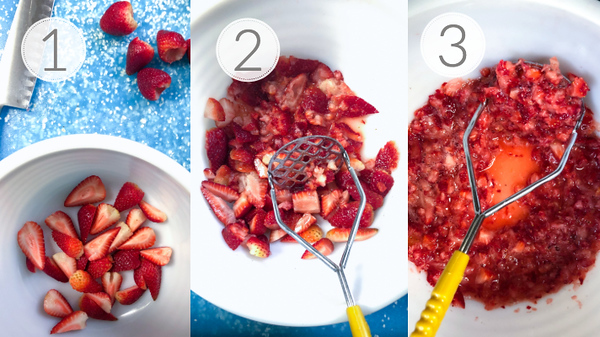 Steps 1, 2, and 3 for making strawberry freezer jam.
