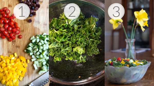 Photo collage showing the 3 steps for making a Greek Kale Salad