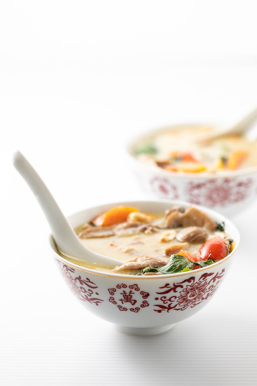 Bowl of thai chicken soup.