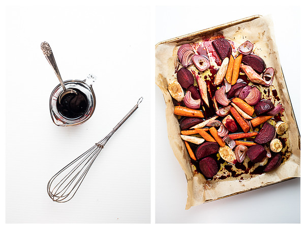 Collage showing the next two steps for roasting vegetables - making the balsamic glaze.