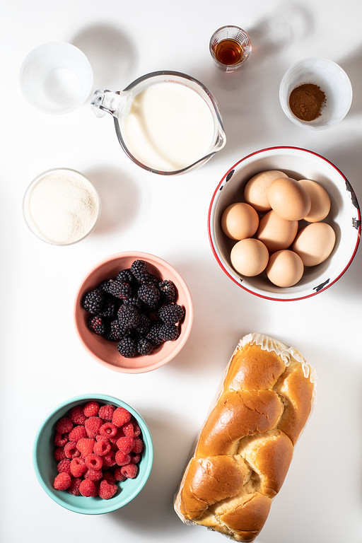 The ingredients to make overnight french toast bake.