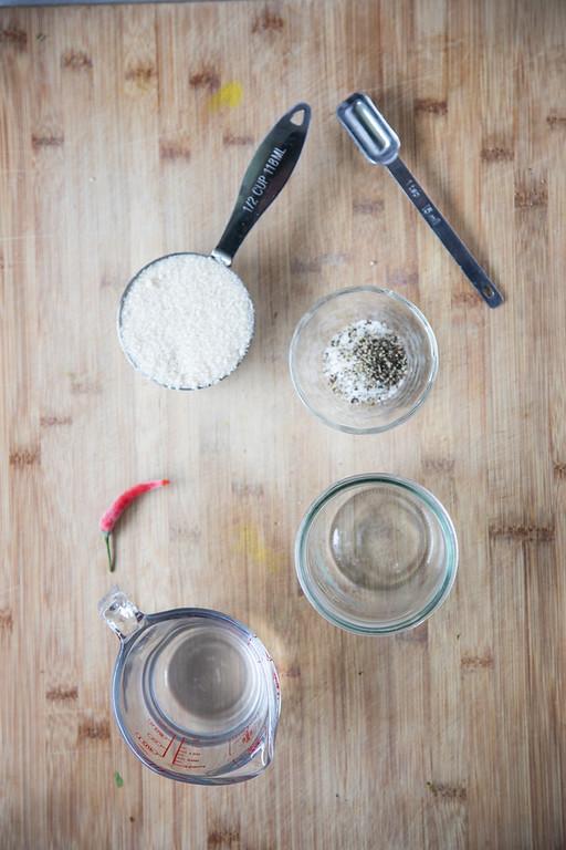 Ingredients for coleslaw vinaigrette.