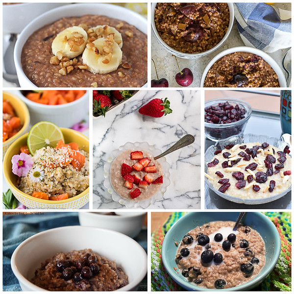 Collage of steel cut oats recipes with fruit.