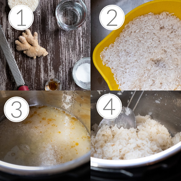 Photo collage showing the four steps to making Instant Pot Rice