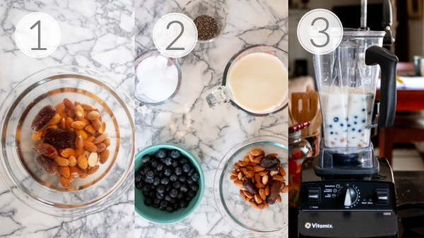 Photo Collage showing the 3 steps to making a blueberry smoothie