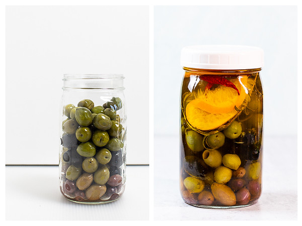 Photo collage showing a jar of olives being filled with herbed olive oil.