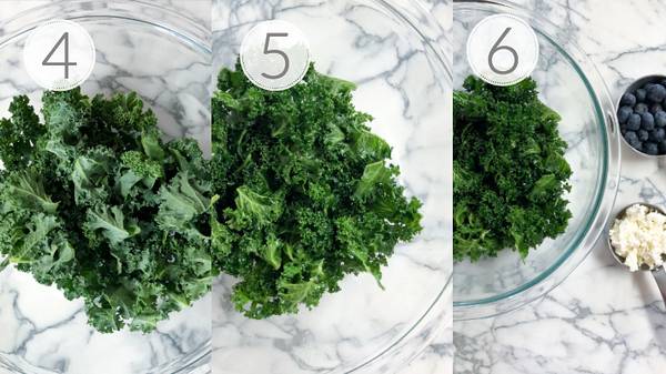 Photo collage showing steps 4, 5, and 6 for preparing kale salad.