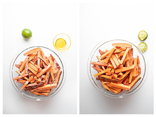 Photo collage showing the first two steps to making sweet potato fries.