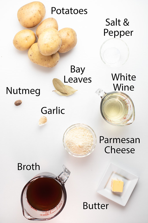 Ingredients to make sheet pan scalloped potatoes.