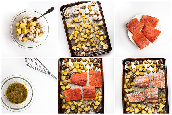Photo collage showing the six steps for making tray baked salmon.