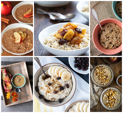 Collage of six photos of fall steel cut oats made in the Instant Pot.