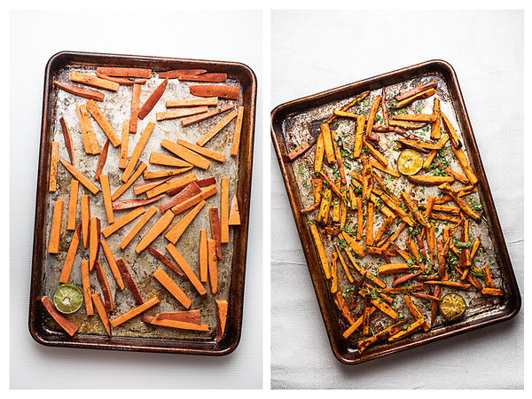 Photo collage showing sweet potato fries before and after baking.