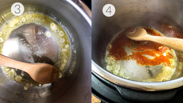 Photo collage showing steps 3 and 4 for making the pasta.