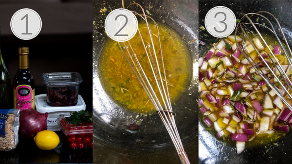 Steps 1, 2, and 3 for making the salad.