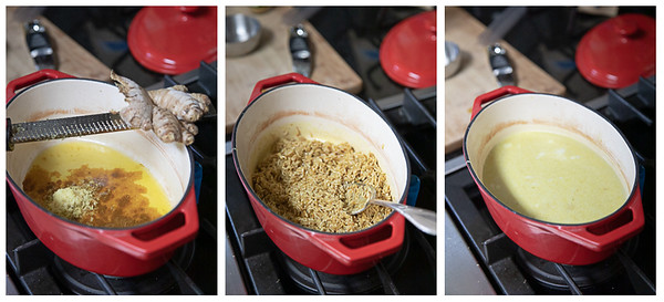 Photo collage showing the first three steps for making curried mango rice.