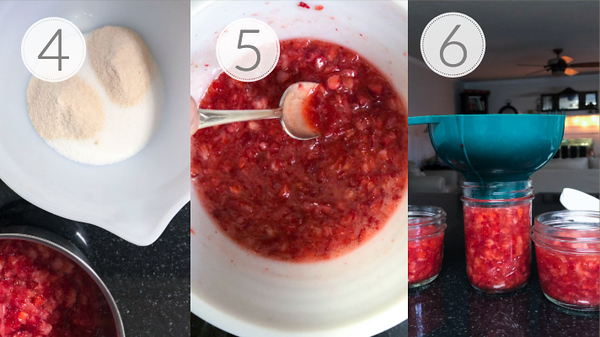 Steps 4, 5, and 6 for making freezer jam.