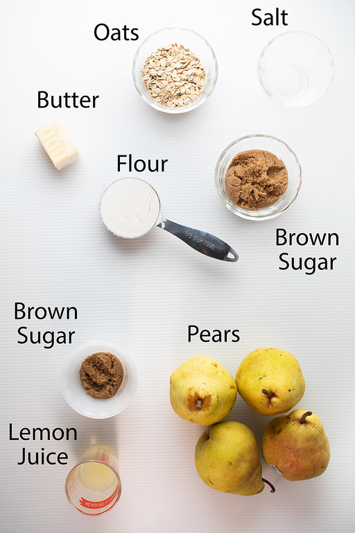 Salt, oats, butter, flour, brown sugar, pears and lemon juice to make a pear crisp.