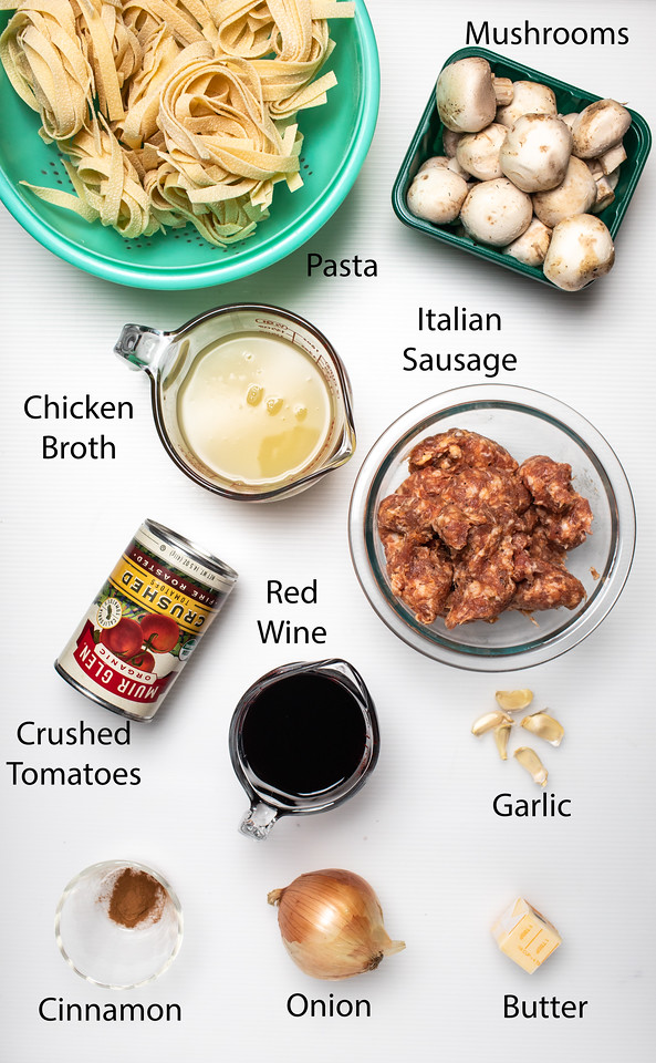 Ingredients to make sausage and mushroom ragu.