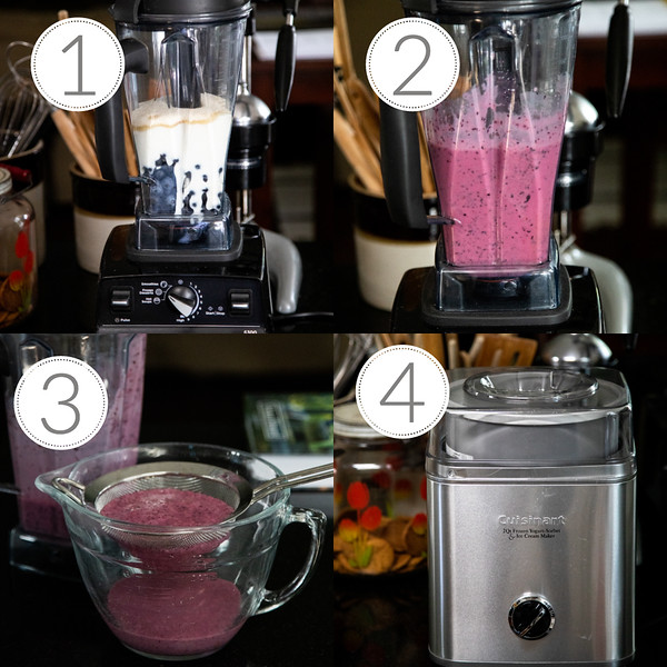 Photo collage showing step by step guide to making blueberry frozen yogurt.